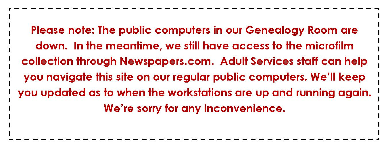 genealogy computers down